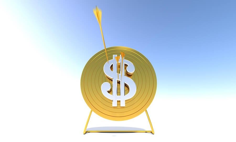Pijltjes gooien op dollar