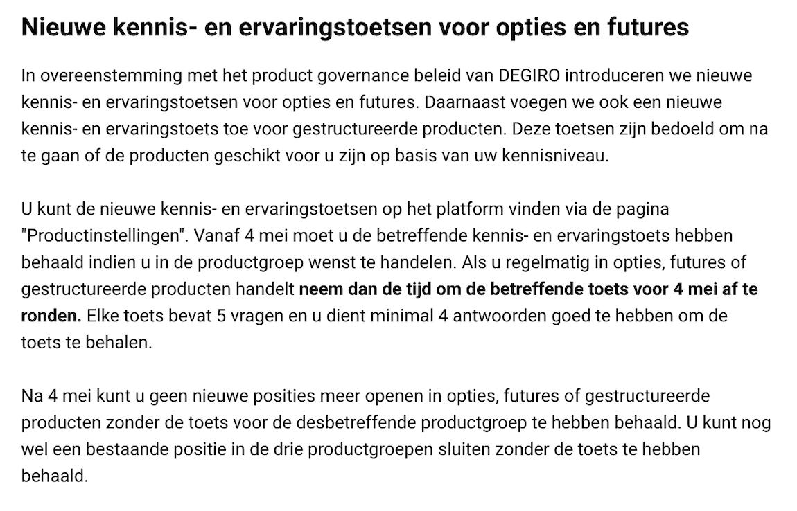 DEGIRO Kennis- en ervaringstoetsen voor opties en futures